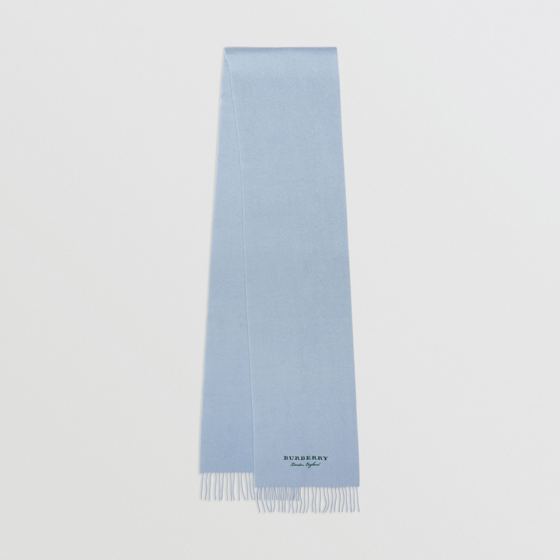 Embroidered Cashmere Fleece Scarf in Pale Powder Blue | Burberry United Kingdom - gallery image 0