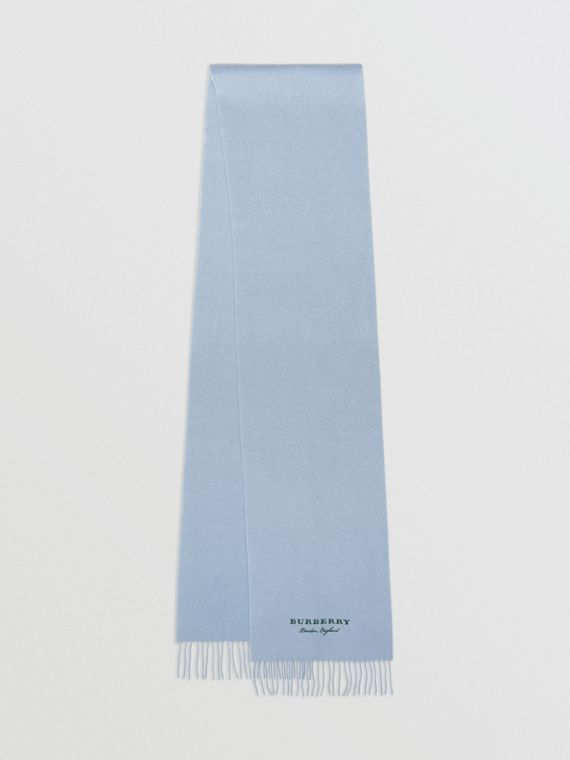 Embroidered Cashmere Fleece Scarf in Pale Powder Blue