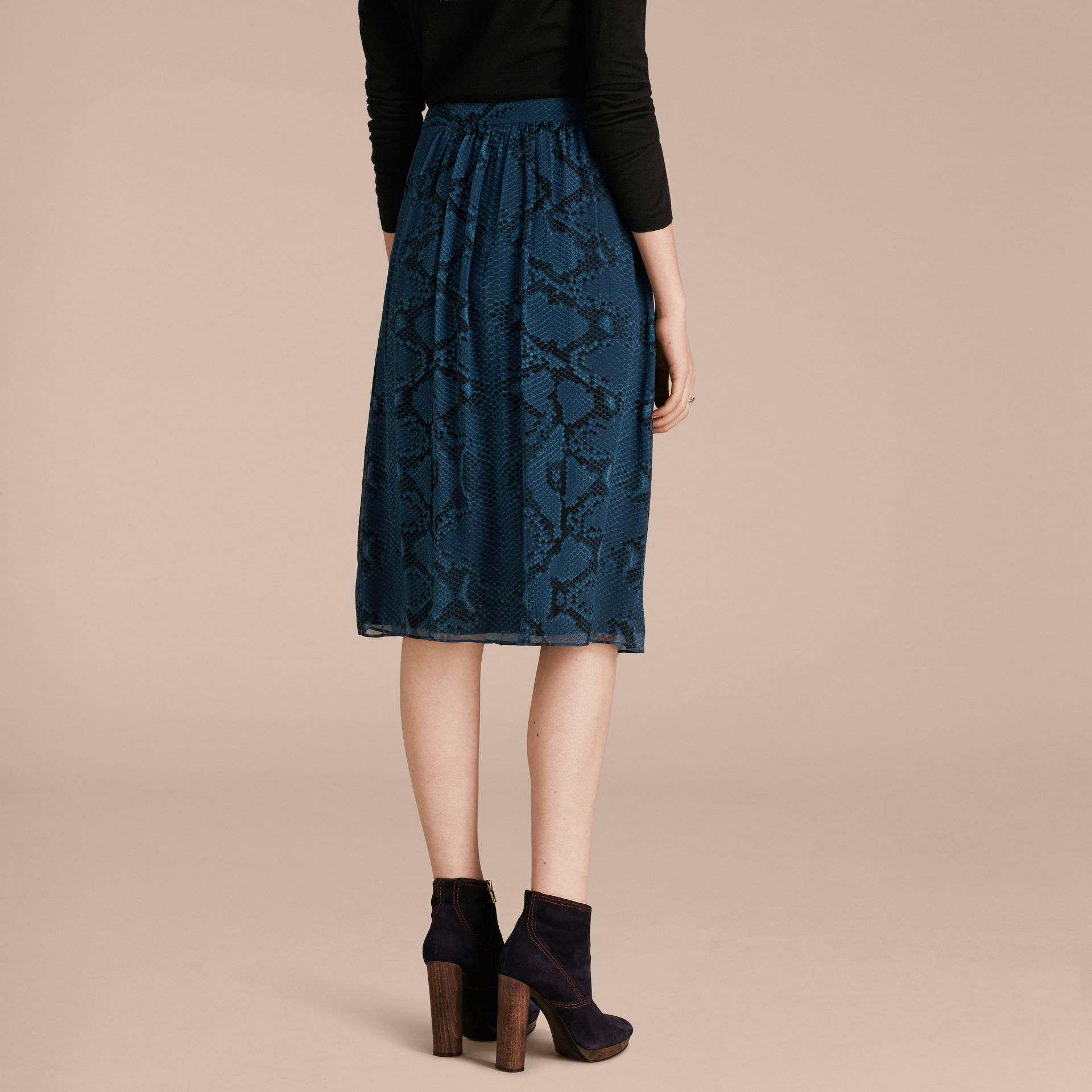 Mineral blue Python Print Silk Crepon Skirt - gallery image 3