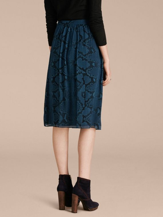 Mineral blue Python Print Silk Crepon Skirt - cell image 2