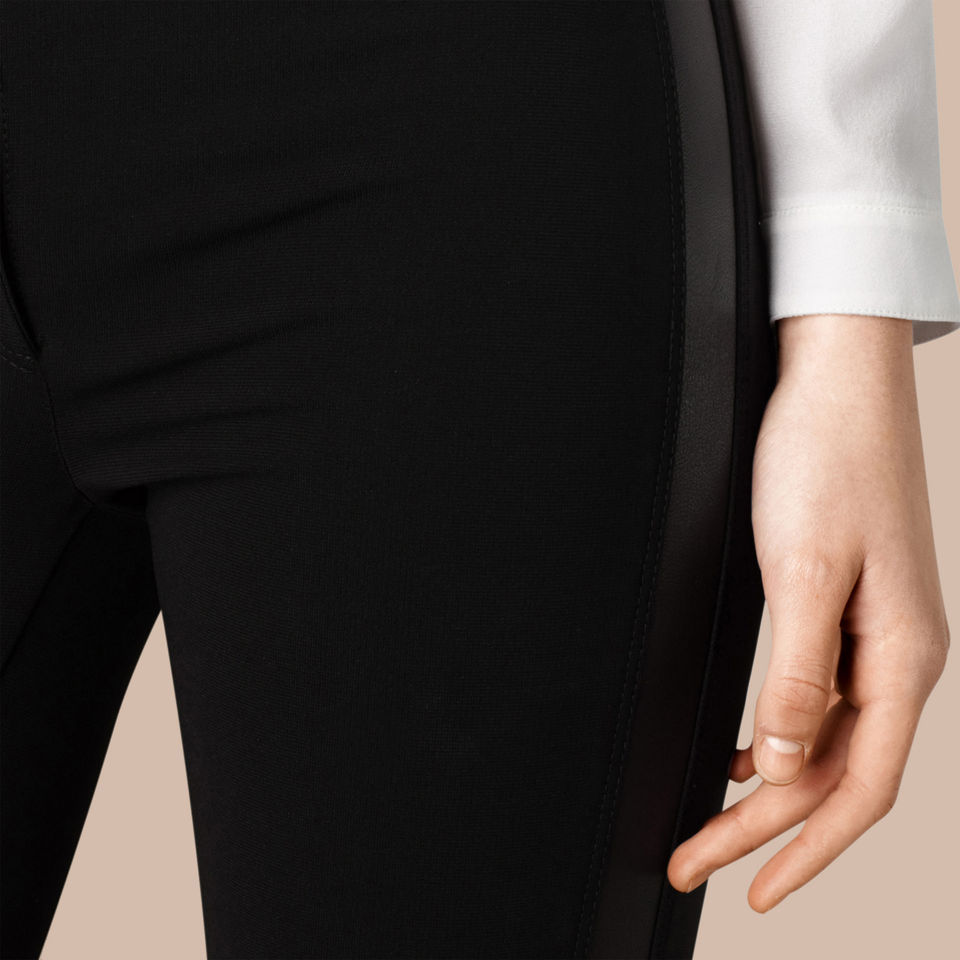 Skinny Fit Leather Panel Leggings - Women | Burberry - gallery image 2