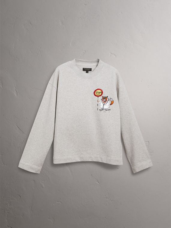 Sketch Print Cotton Jersey Sweatshirt in Light Grey Melange