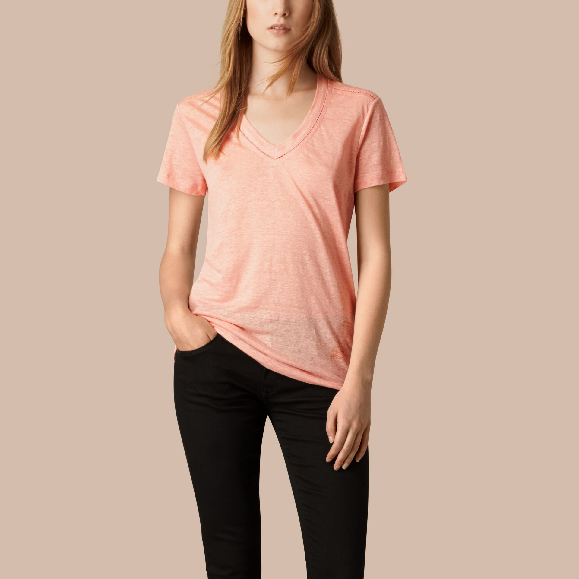 Coral pink V-Neck Open Stitch Detail Linen T-Shirt Coral Pink - gallery image 1