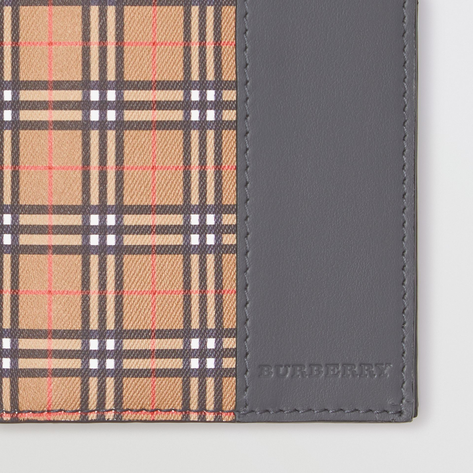 Small Scale Check and Leather Continental Wallet in Antique Yellow/dark Grey | Burberry - gallery image 1