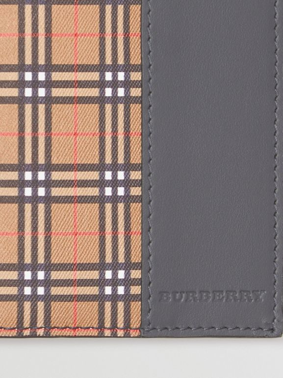 Small Scale Check and Leather Continental Wallet in Antique Yellow/dark Grey - Men | Burberry United Kingdom - cell image 1