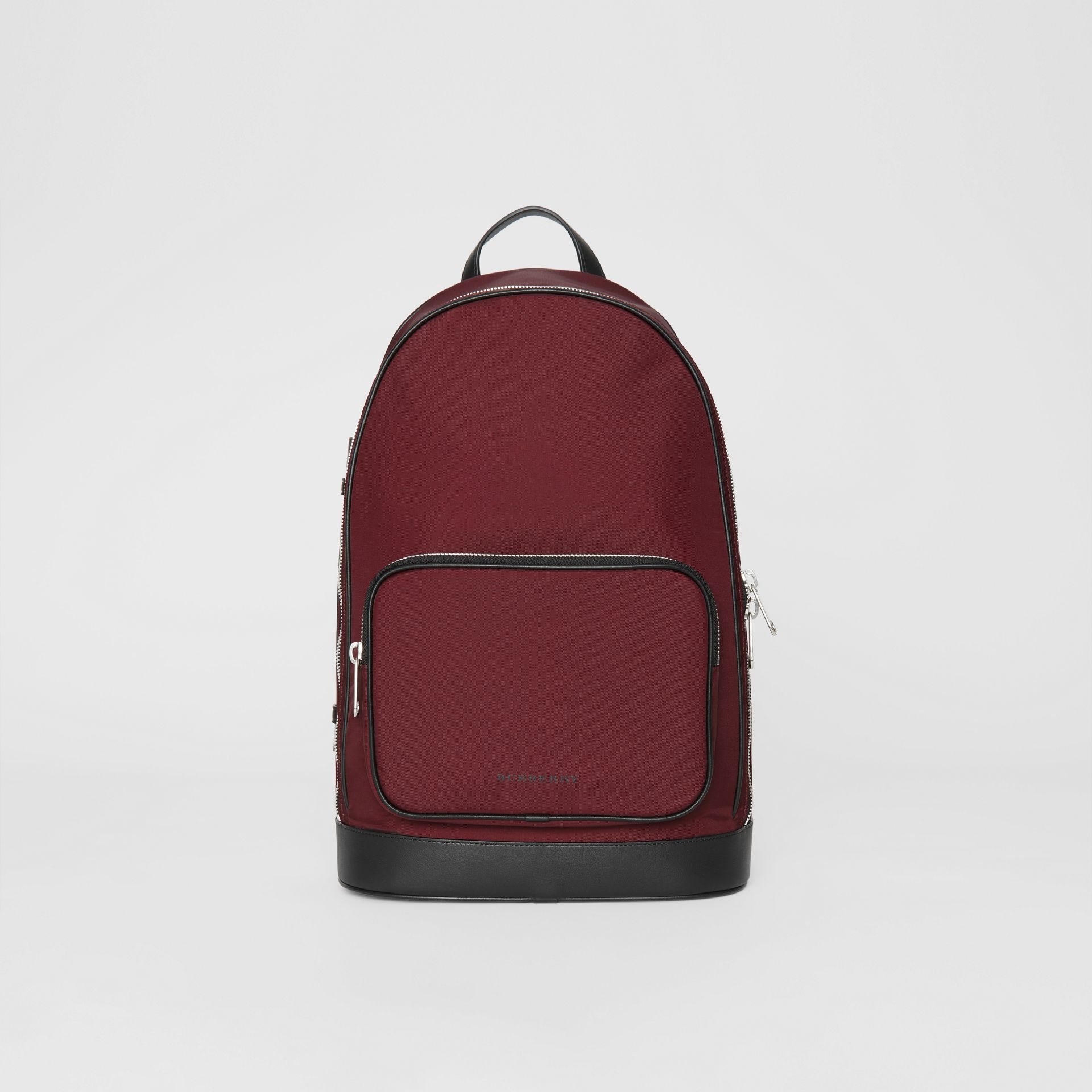 Icon Stripe Detail Nylon Backpack in Oxblood - Men | Burberry Singapore - gallery image 0