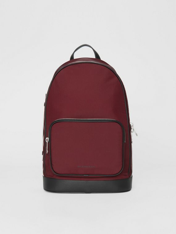 Heritage Stripe Detail Nylon Backpack in Oxblood