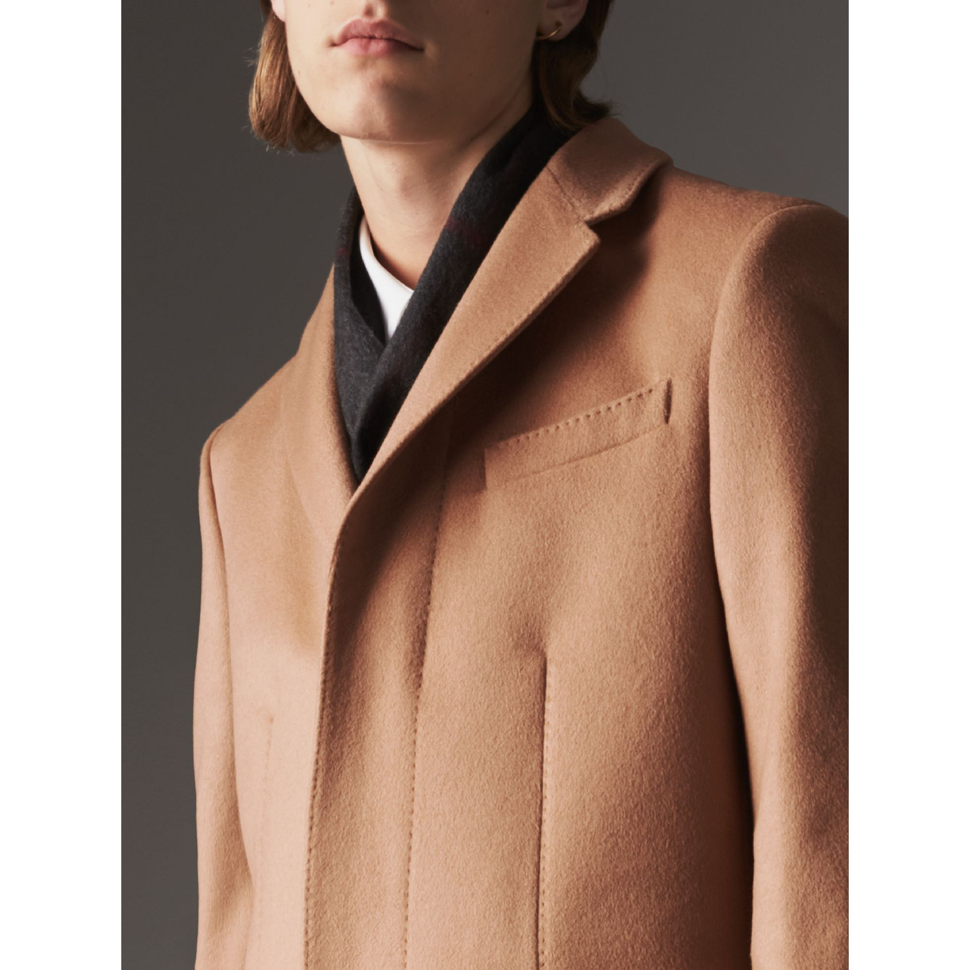 Wool Cashmere Tailored Coat in Camel - Men | Burberry United Kingdom - gallery image 4
