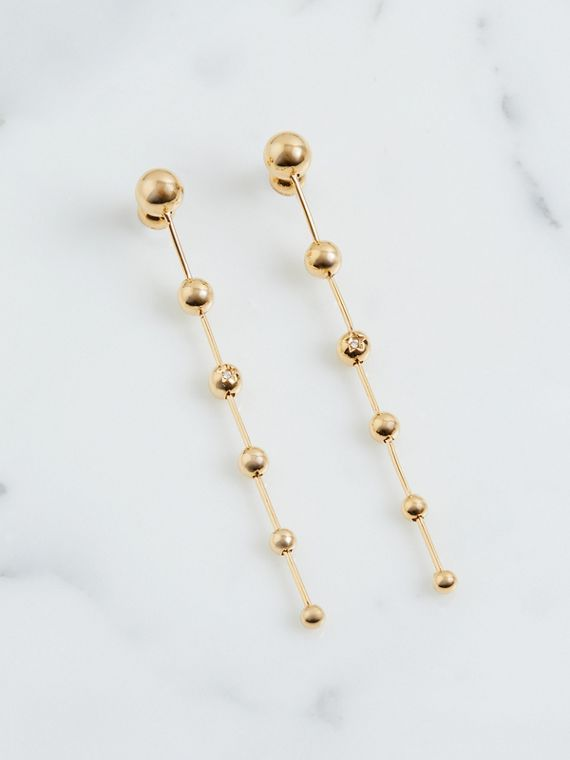 Crystal Charm Gold-plated Drop Earrings in Light