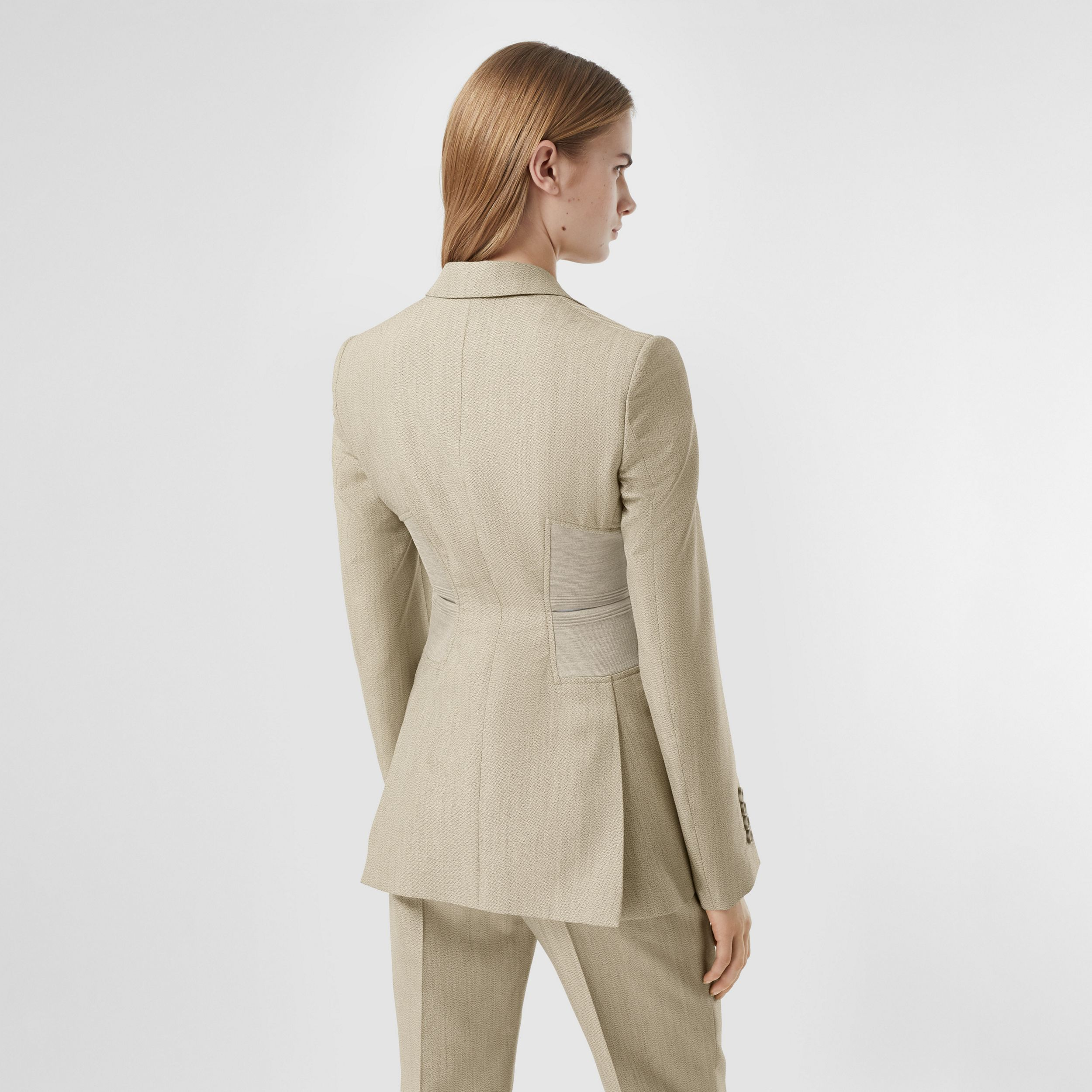 Cut-out Detail Technical Wool Blazer in Grey - Women | Burberry - 3