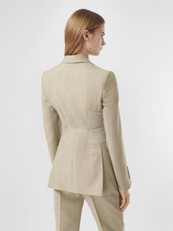 Cut-out Detail Technical Wool Blazer in Grey - Women | Burberry - cell image 2