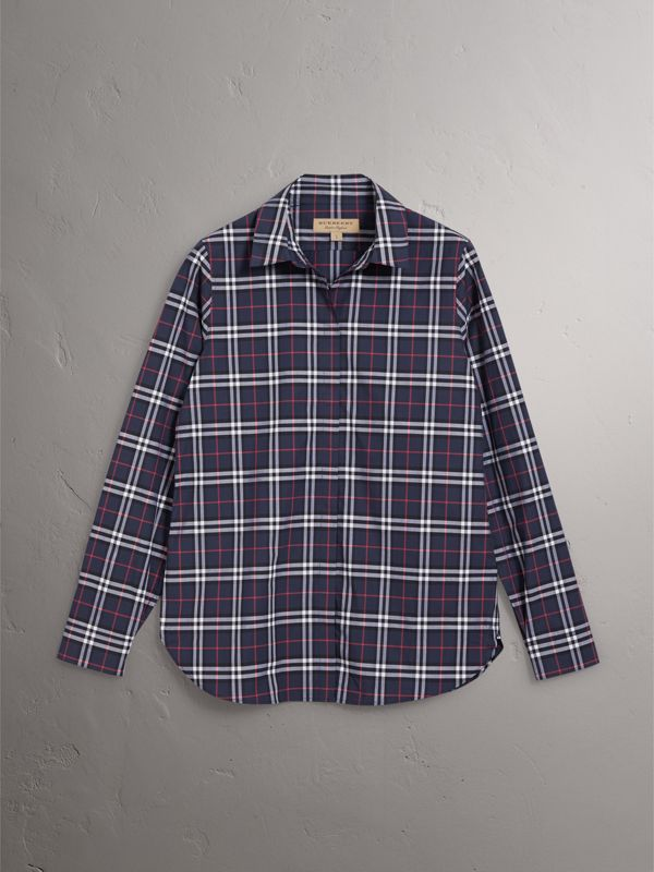 Check Cotton Shirt in Navy - Women | Burberry United Kingdom - cell image 3