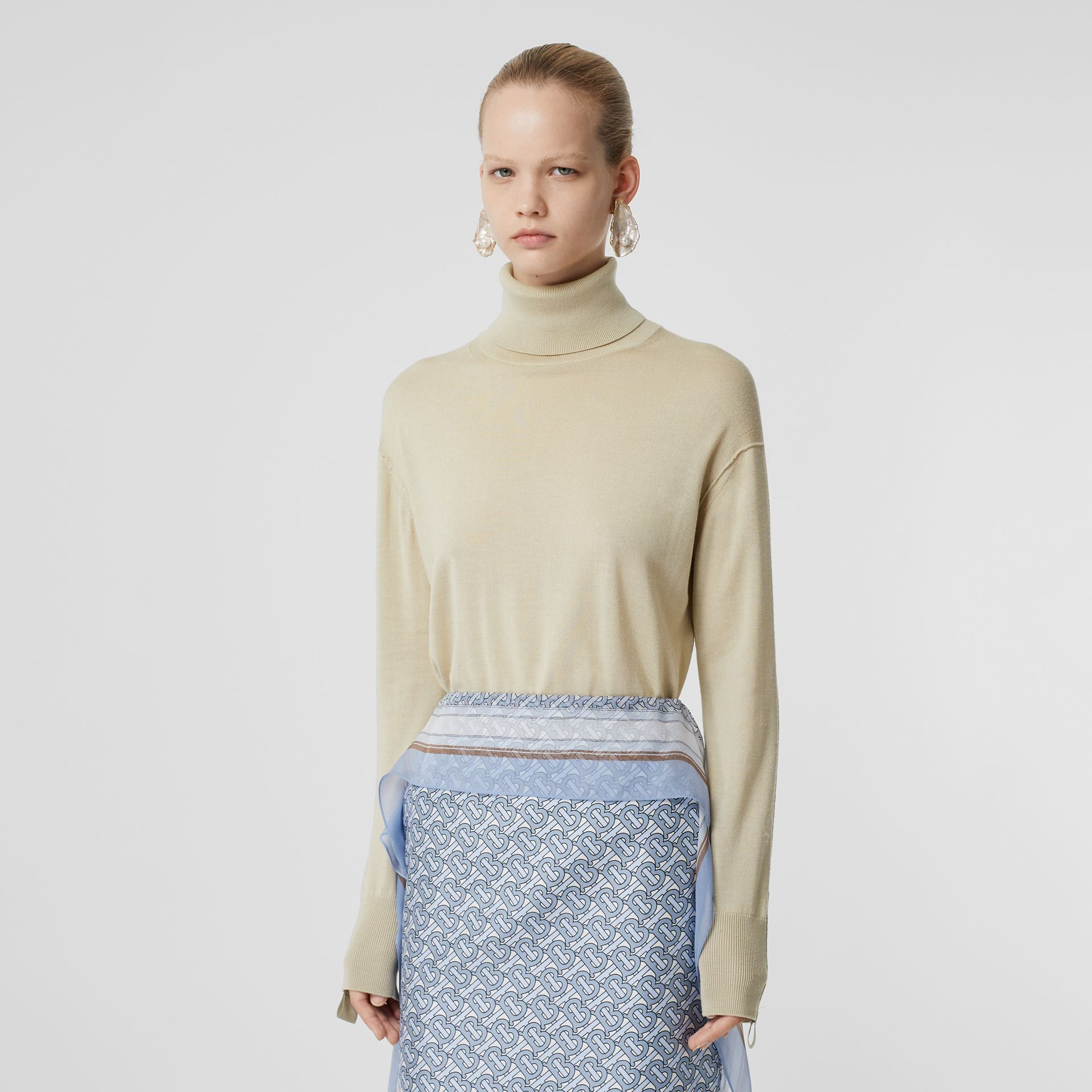 Logo Detail Merino Wool Silk Roll-neck Sweater in Pale Ochre - Women | Burberry - gallery image 5