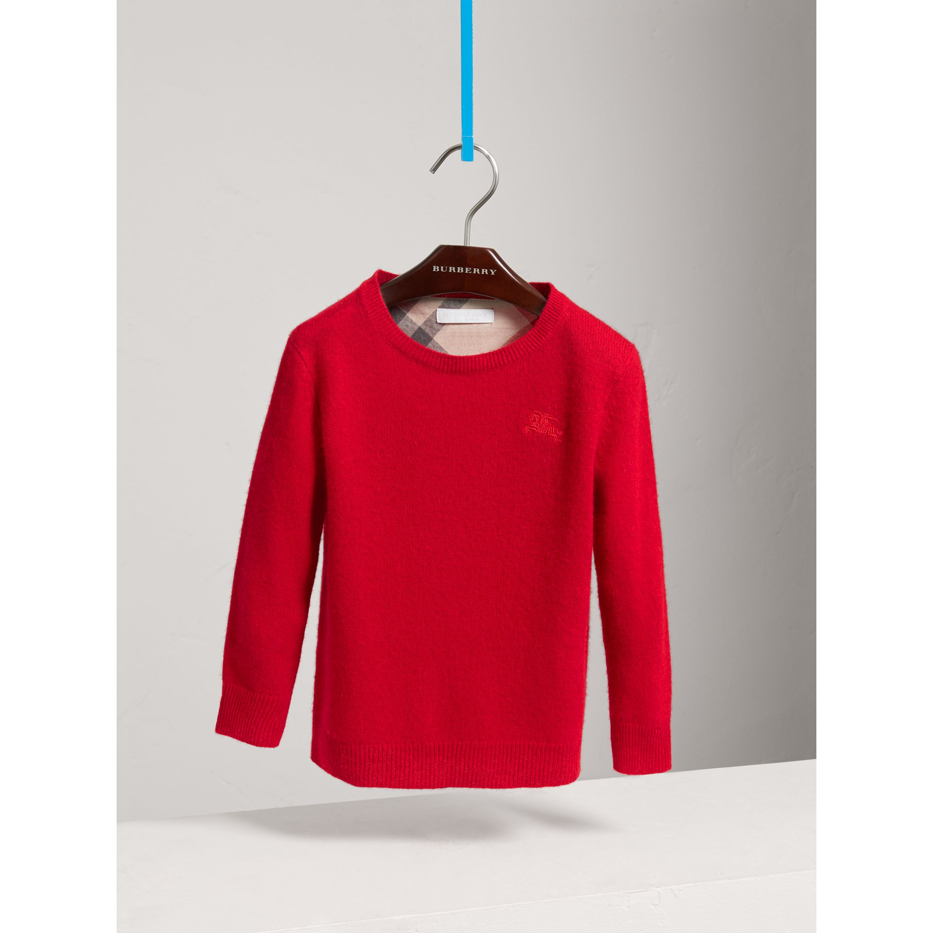 Check Elbow Patch Cashmere Sweater in Parade Red - Boy | Burberry United States - gallery image 0