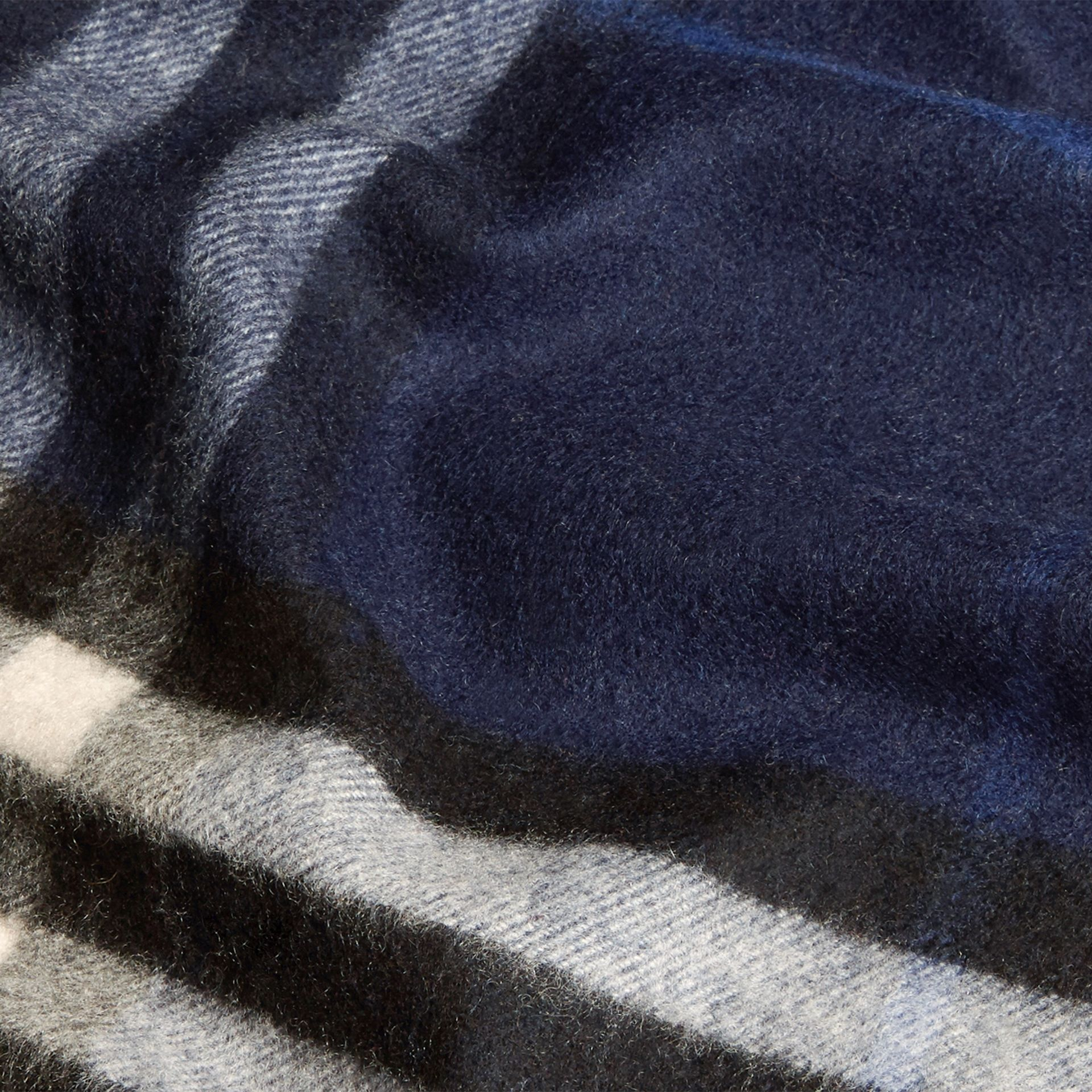 Indigo blue The Classic Cashmere Scarf in Check Indigo Blue - gallery image 5