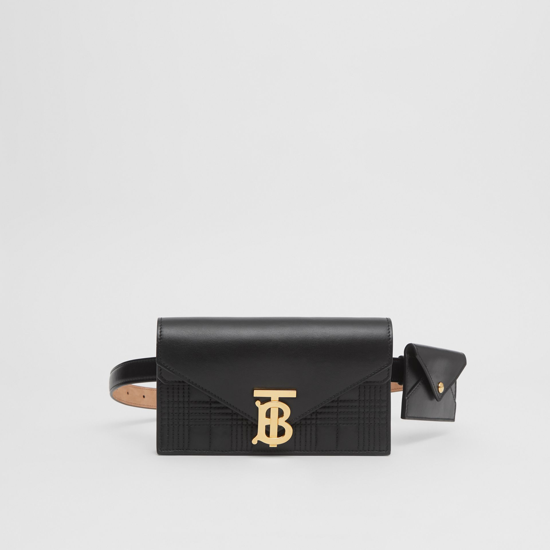 Quilted Lambskin Wallet with Leather Belt in Black - Women | Burberry Australia - gallery image 0