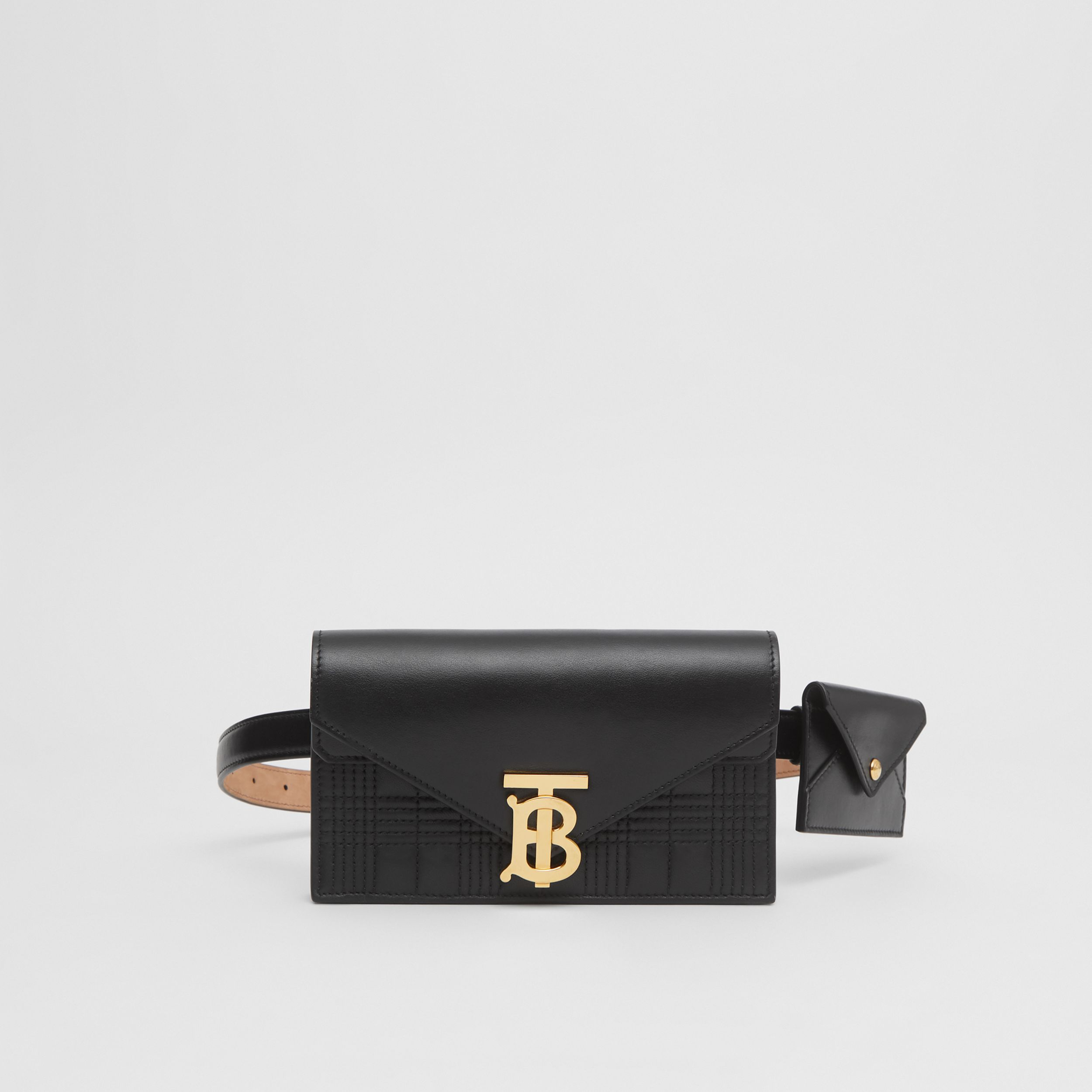 Belted Quilted Lambskin TB Envelope Clutch in Black - Women | Burberry - 1