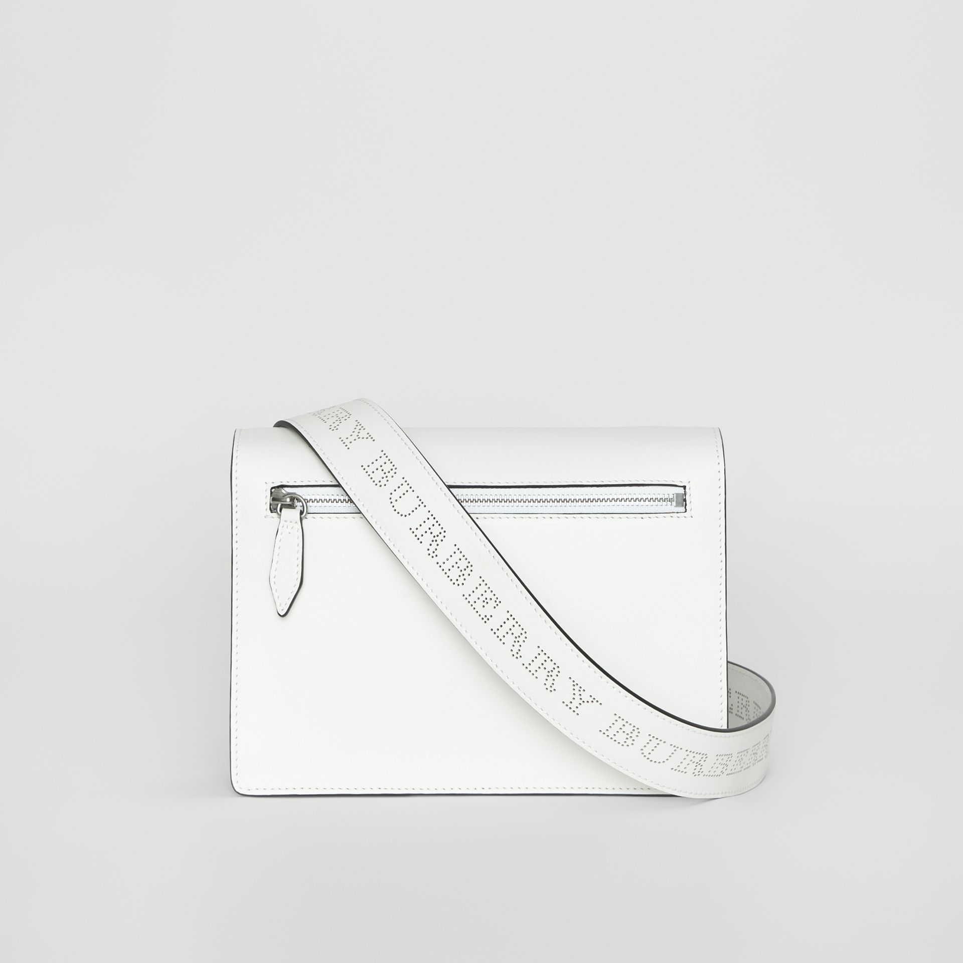 Small Perforated Logo Leather Crossbody Bag in Chalk White - Women | Burberry United Kingdom - gallery image 7