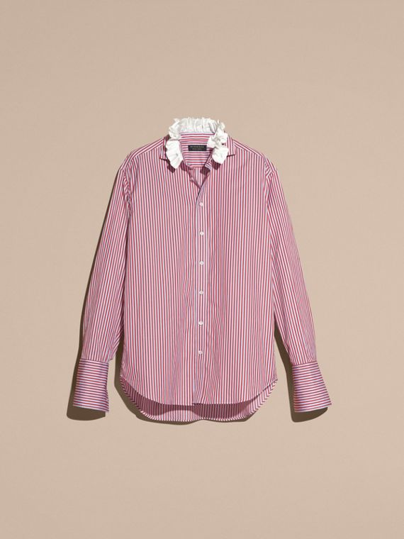 Cardinal red Ruff Collar Striped Cotton Shirt - cell image 3