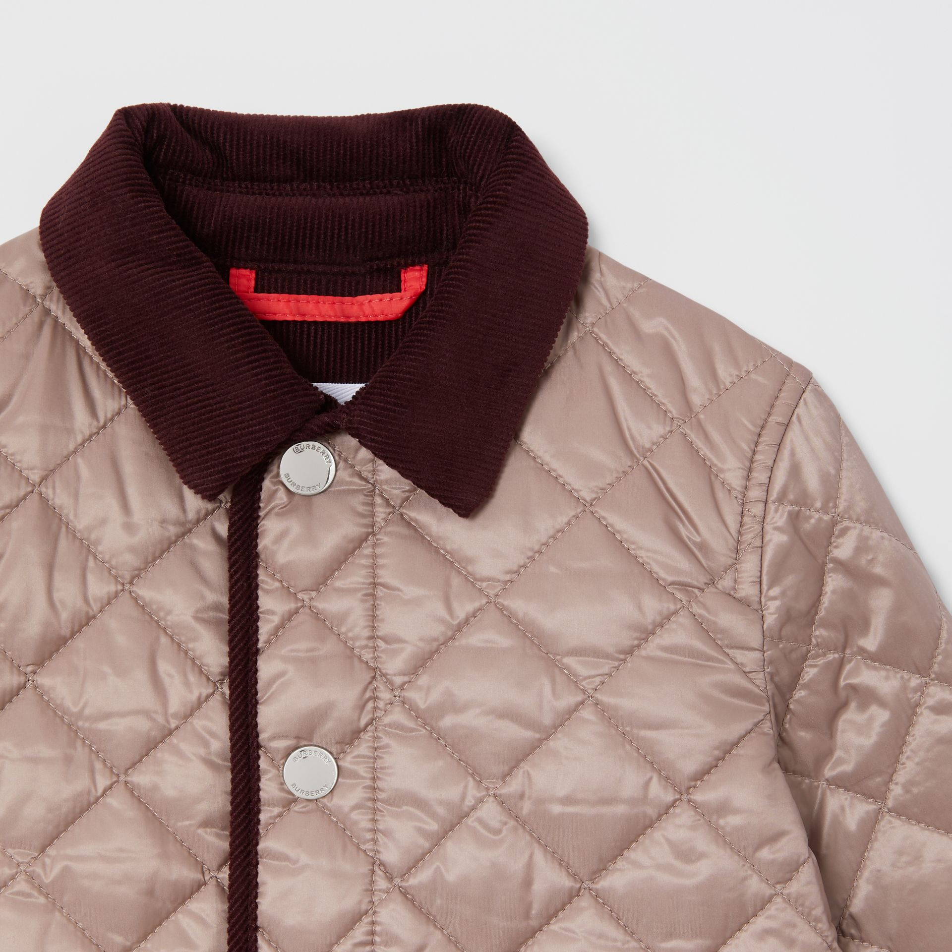 Corduroy Trim Lightweight Diamond Quilted Jacket in Grey Mink - Children | Burberry United Kingdom - gallery image 4