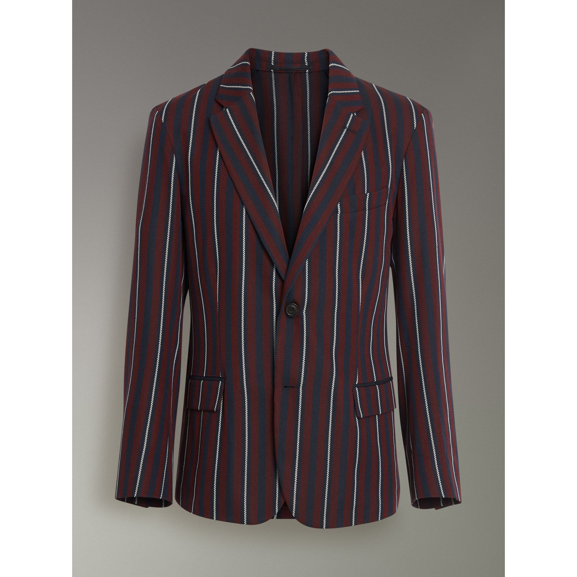 Slim Fit Striped Wool Silk Blazer in Burgundy - Men | Burberry Singapore - gallery image 3