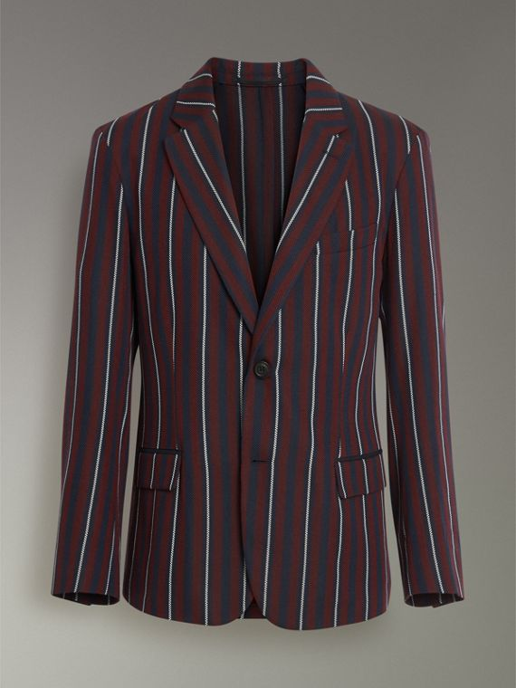 Slim Fit Striped Wool Silk Blazer in Burgundy - Men | Burberry - cell image 3