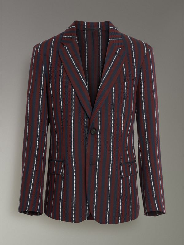 Slim Fit Striped Wool Silk Blazer in Burgundy - Men | Burberry Singapore - cell image 3