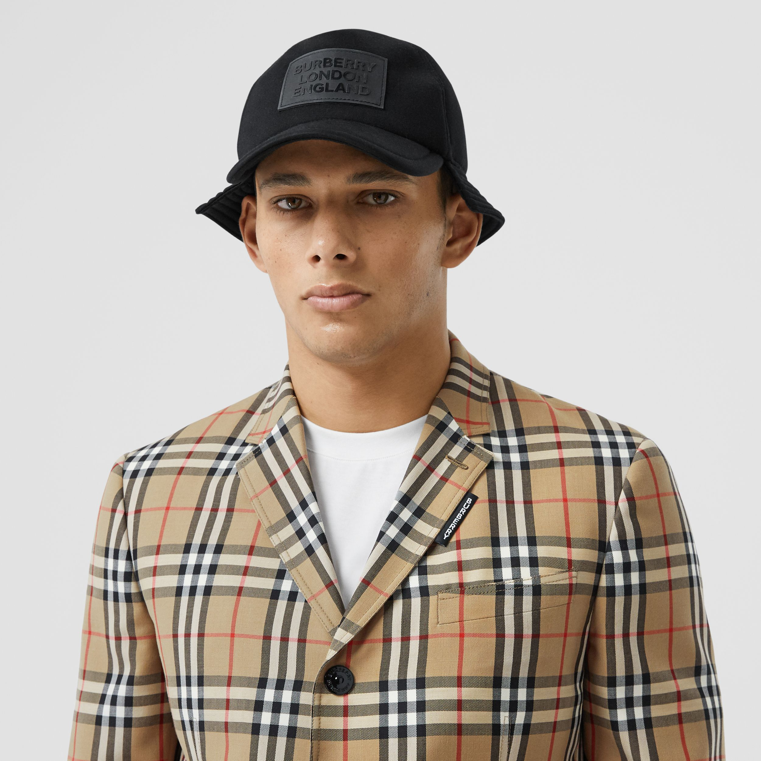 Slim Fit Vintage Check Wool Mohair Tailored Jacket in Archive Beige - Men | Burberry - 2
