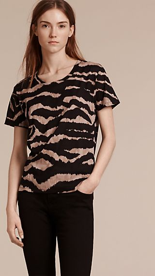 Zebra Print Cotton Jersey T-Shirt
