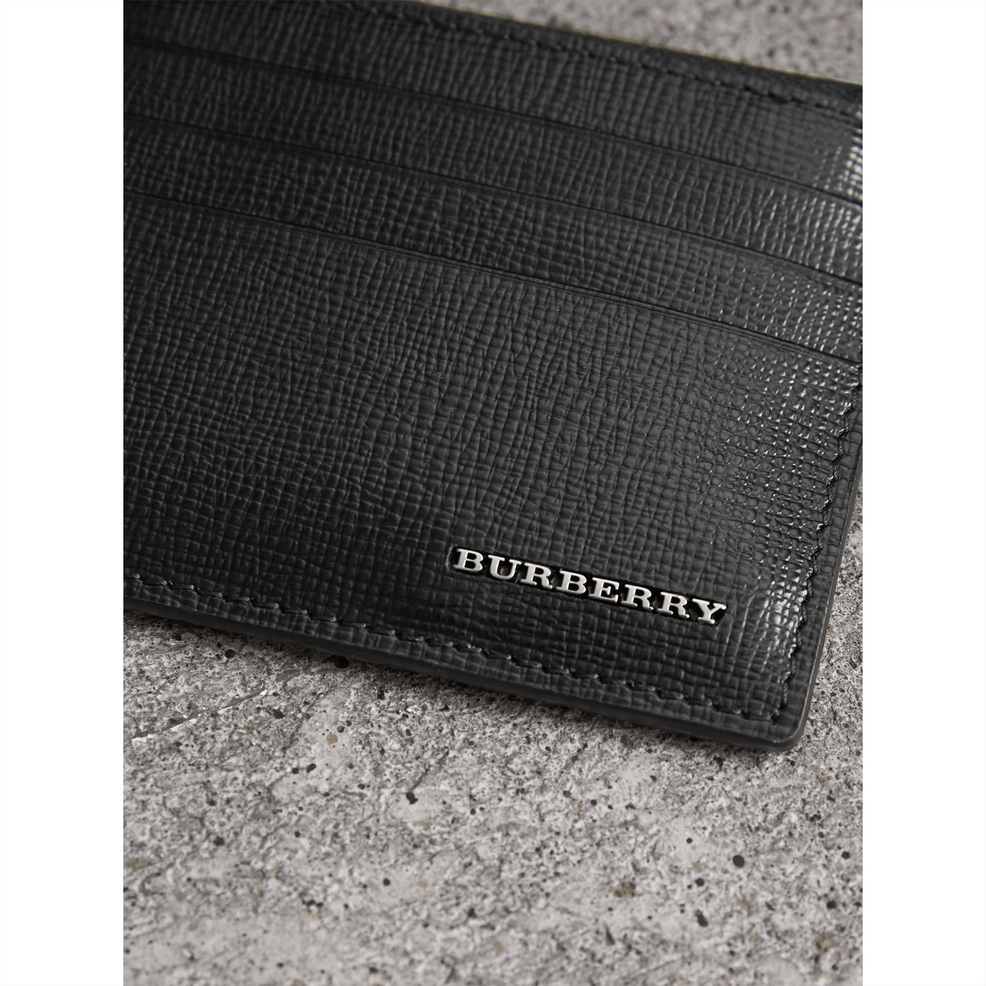 London Leather Zip-top Card Case in Black | Burberry United Kingdom - gallery image 1