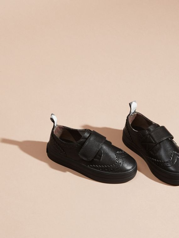 Brogue Detail Leather Trainers in Black - Children | Burberry - cell image 2