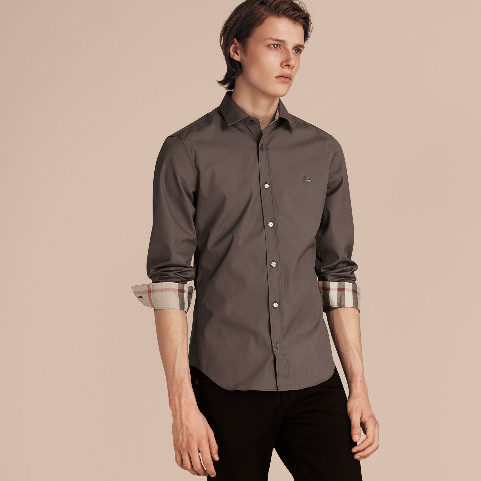 Check Detail Stretch Cotton Poplin Shirt Stone Grey - gallery image 6