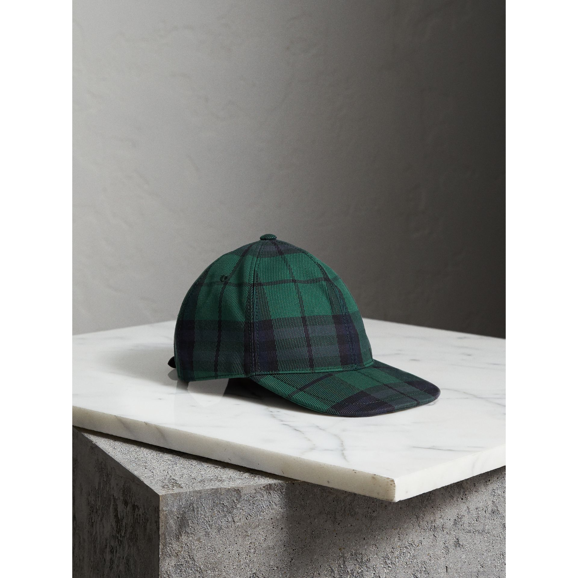 Tartan Baseball Cap in Racing Green | Burberry - gallery image 0