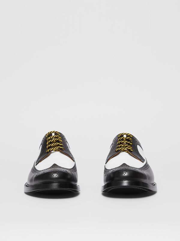 Brogue Detail Two-tone Leather Derby Shoes in Black/optic White - Men | Burberry Australia - cell image 2