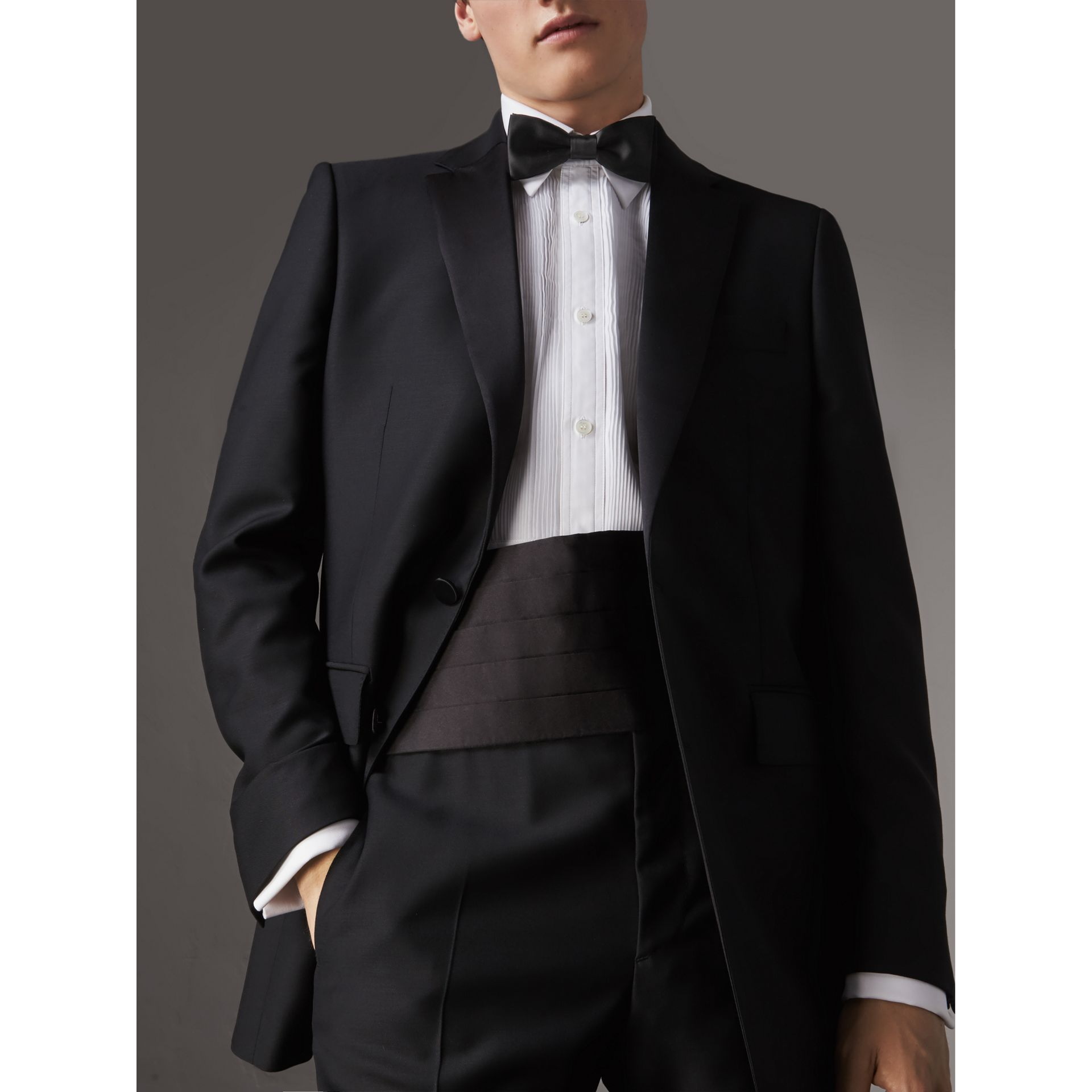 Classic Silk Bow Tie in Black - Men | Burberry Canada - gallery image 3