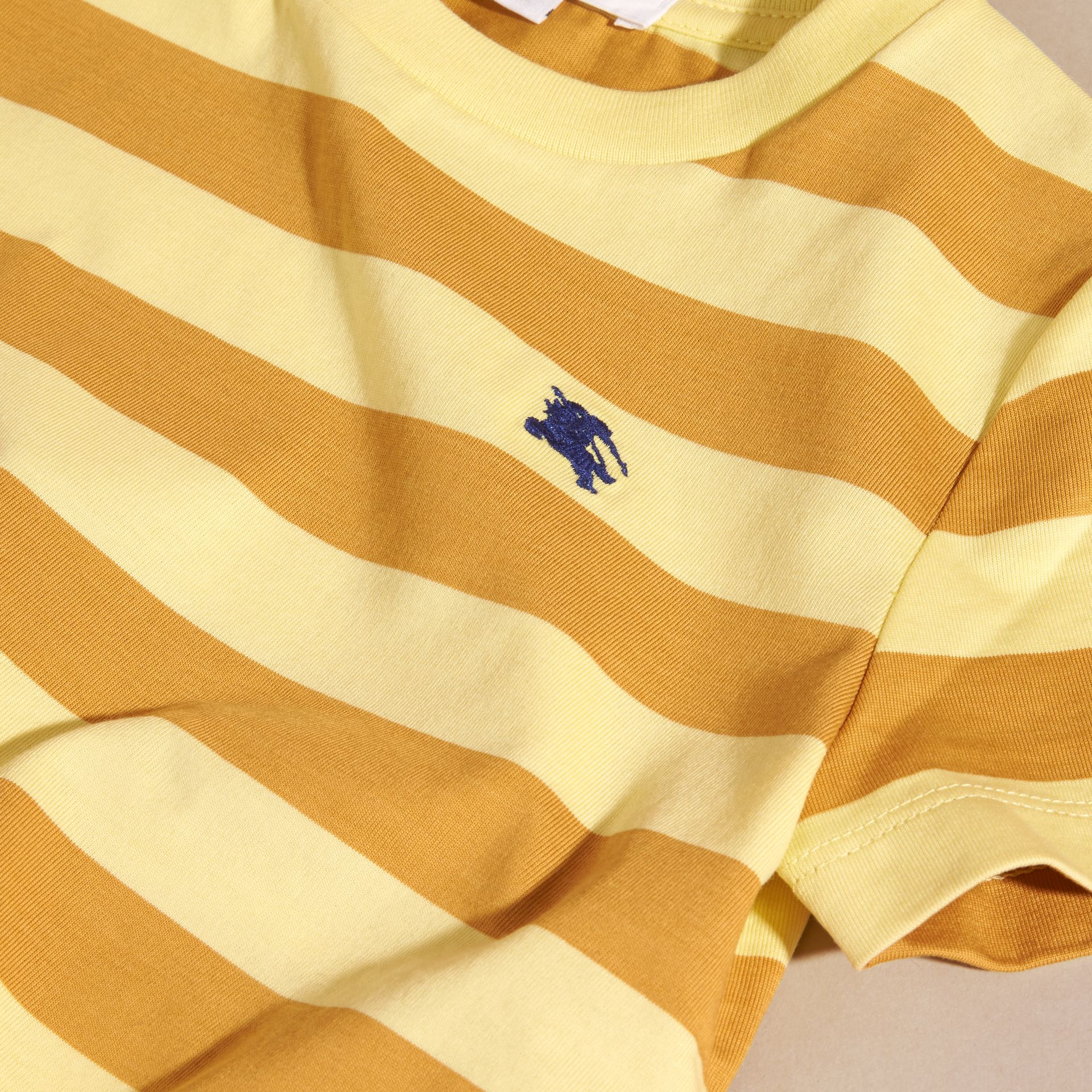 Striped Cotton T-shirt in Pale Yellow/ochre Yellow - Boy | Burberry Hong Kong - gallery image 2