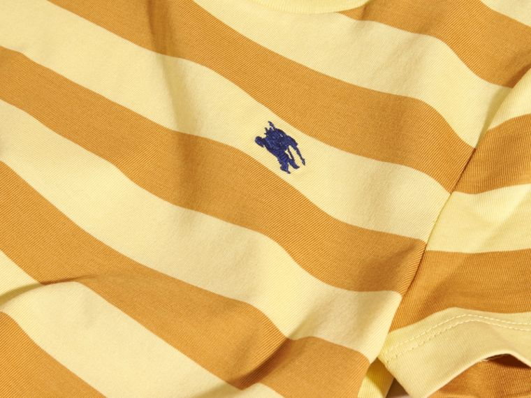 Striped Cotton T-shirt in Pale Yellow/ochre Yellow - Boy | Burberry Hong Kong - cell image 1
