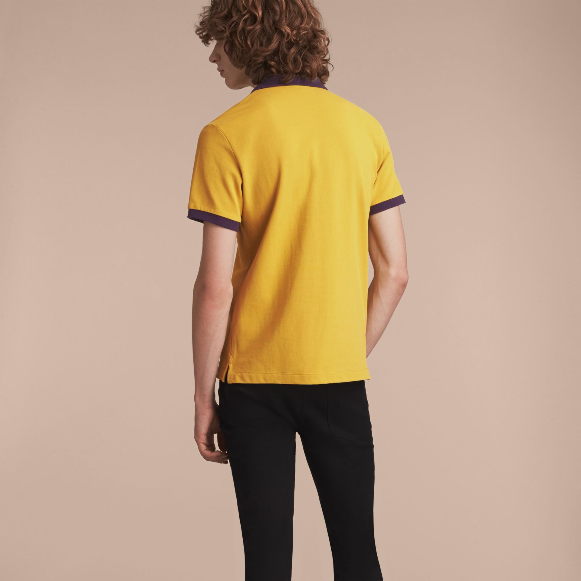 Two-tone Check Placket Cotton Piqué Polo Shirt Gorse Yellow - gallery image 3