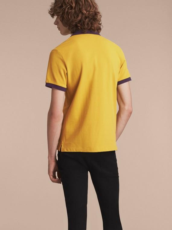 Two-tone Check Placket Cotton Piqué Polo Shirt Gorse Yellow - cell image 2