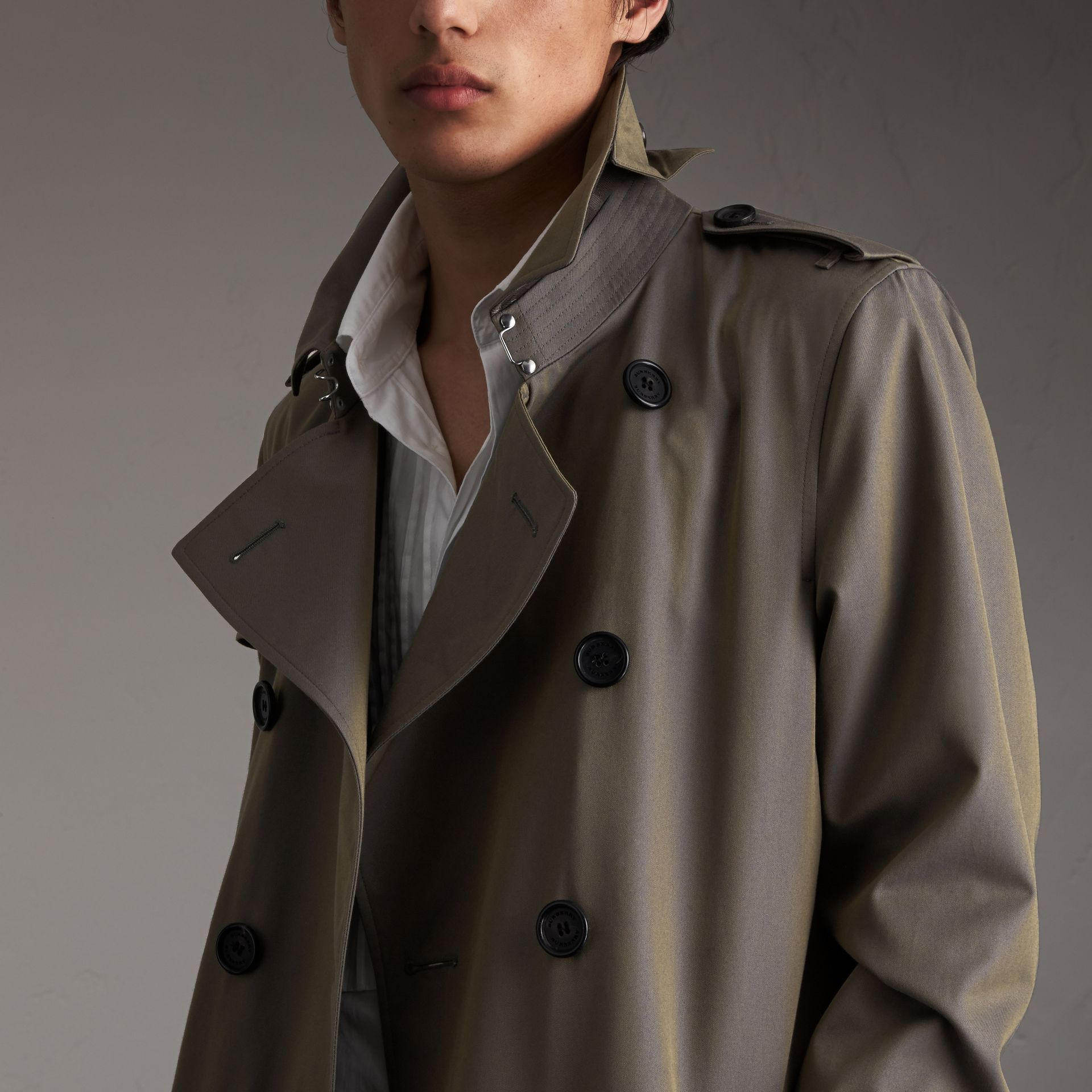 Cotton Gabardine Trench Coat in Storm Blue - Men | Burberry Australia - gallery image 3