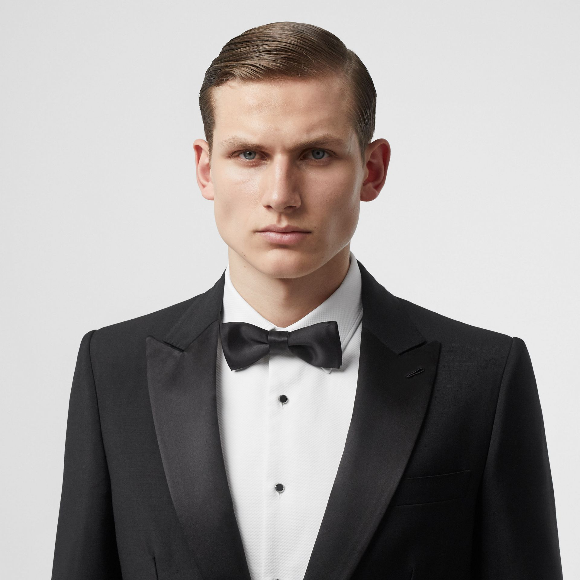 English Fit Mohair Wool Tuxedo in Black - Men | Burberry - gallery image 1
