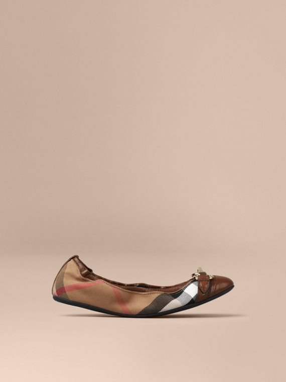 Buckle Detail House Check Ballerinas Dark Tan