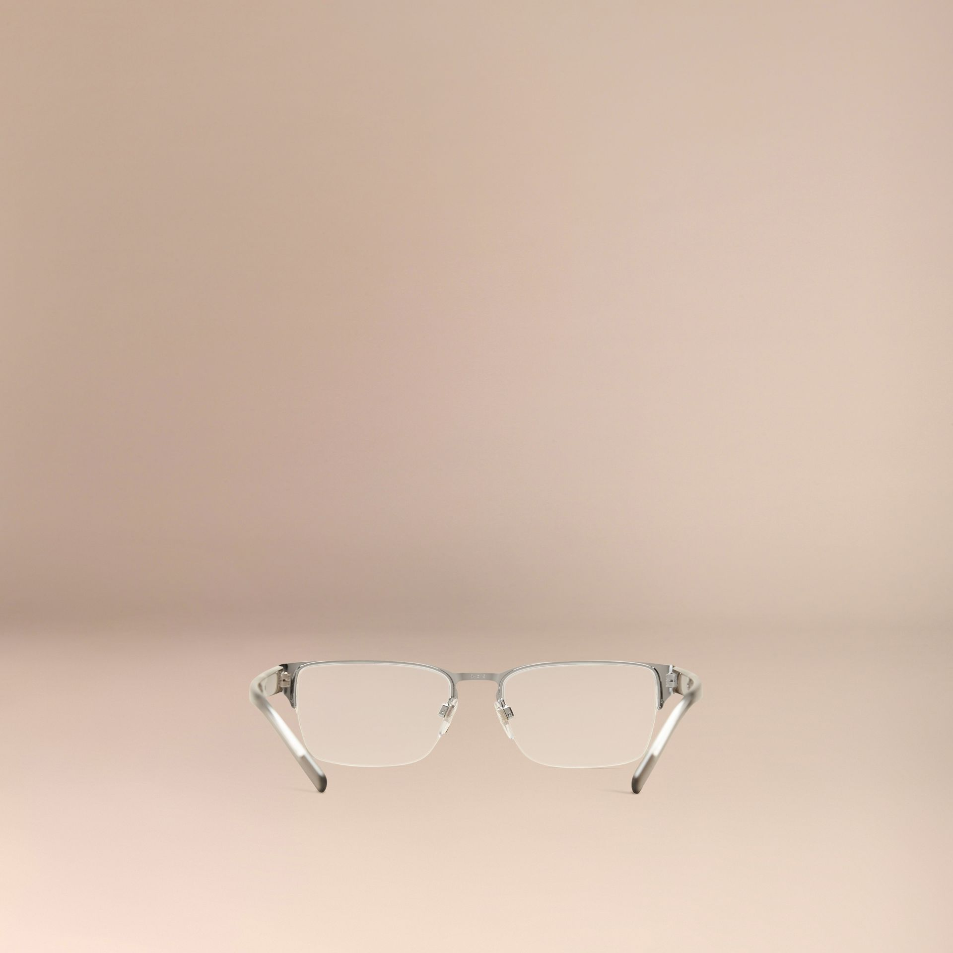 Brushed silver Check Detail Rectangular Optical Frames Brushed Silver - gallery image 4