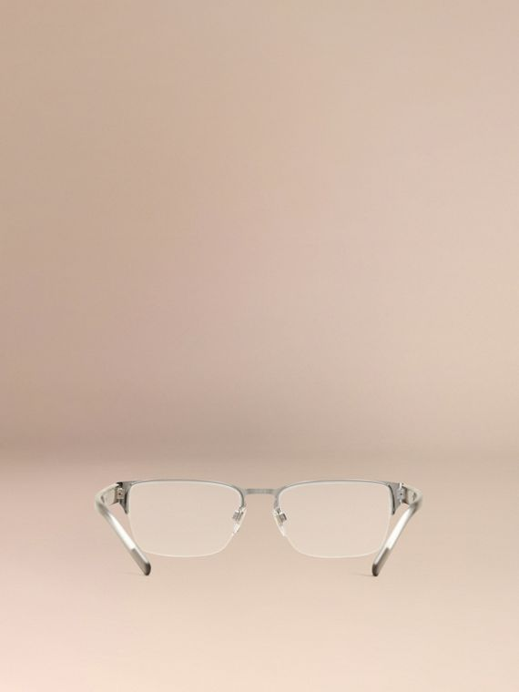 Brushed silver Check Detail Rectangular Optical Frames Brushed Silver - cell image 3