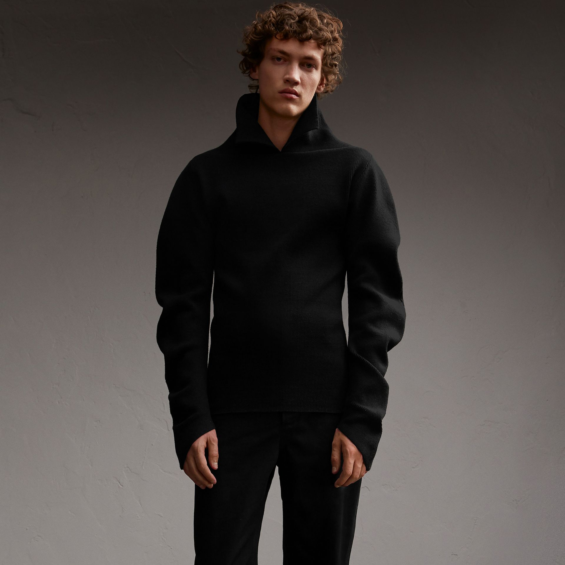 Rib Knit Compact Wool Blend Sculptural Sweater - Men | Burberry Australia - gallery image 1
