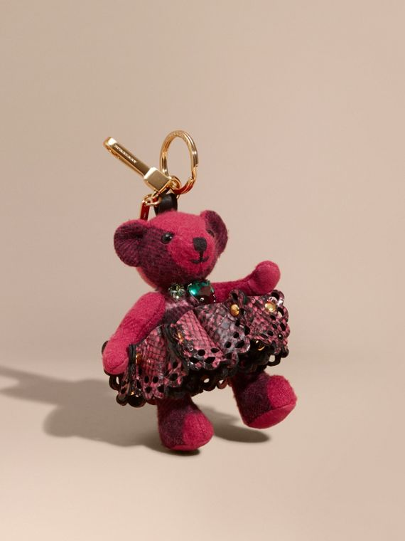 Thomas Bear Charm in Leather Lace and Crystals