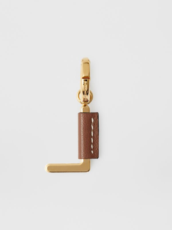Leather-wrapped 'L' Alphabet Charm in Light Gold/tan - Women | Burberry - cell image 3