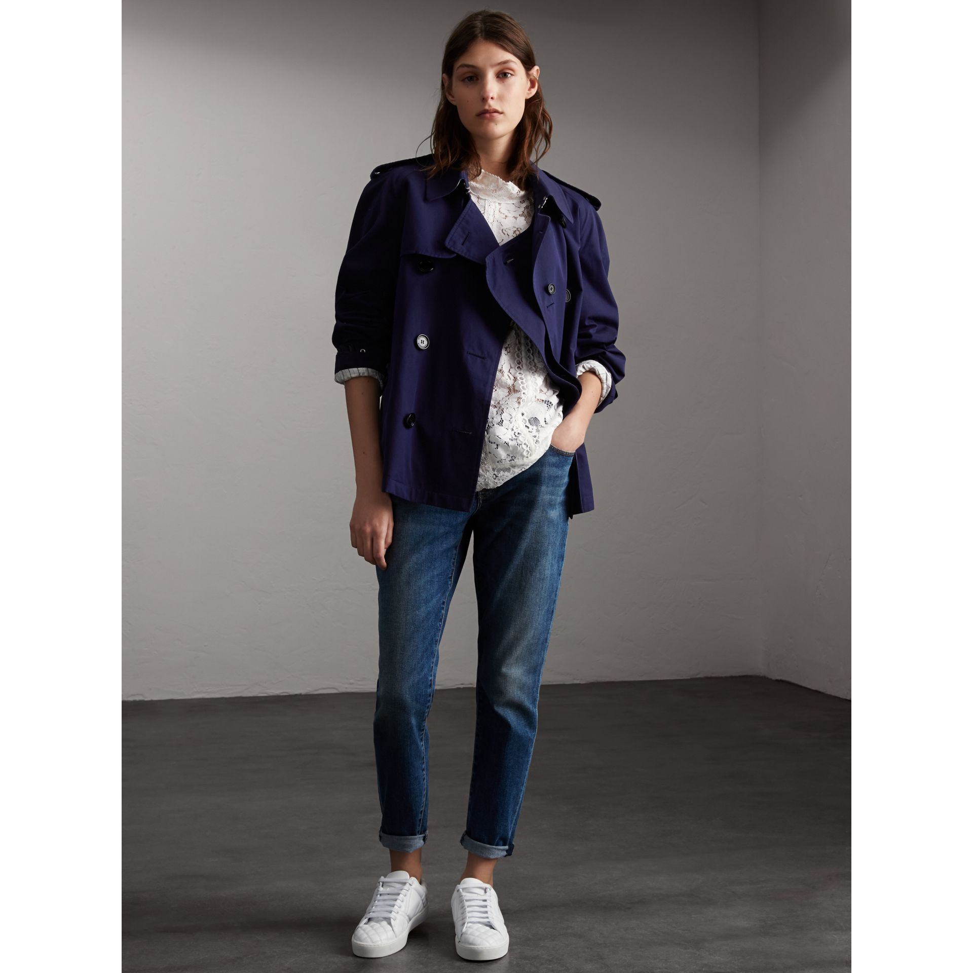 Unisex Tropical Gabardine Trench Jacket in Blueberry - Women | Burberry - gallery image 7