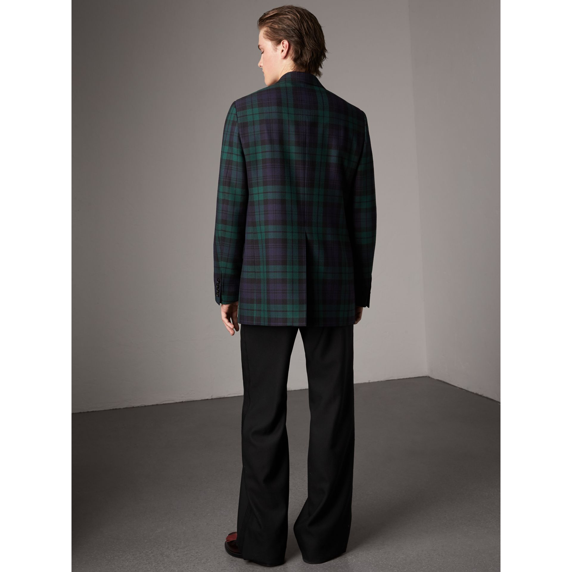 Tartan Wool Tailored Jacket in Bright Navy - Men | Burberry United Kingdom - gallery image 2