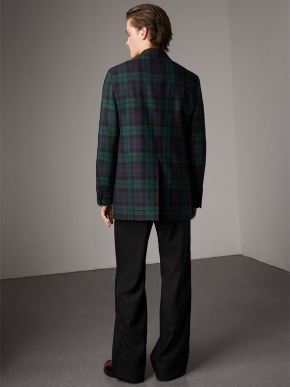 Tartan Wool Tailored Jacket in Bright Navy - Men | Burberry United Kingdom - cell image 2